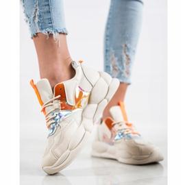 Bestelle Sneakersy Na Platformie Fashion beżowy pomarańczowe srebrny 2