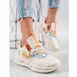 Bestelle Sneakersy Na Platformie Fashion beżowy pomarańczowe srebrny 3