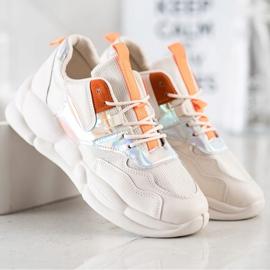 Bestelle Sneakersy Na Platformie Fashion beżowy pomarańczowe srebrny 1