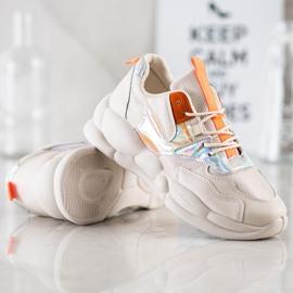 Bestelle Sneakersy Na Platformie Fashion beżowy pomarańczowe srebrny 4