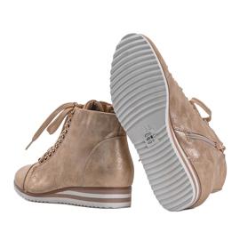 Beżowe sneakersy 15A8617 beżowy złoty 4