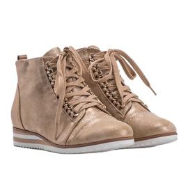 Beżowe sneakersy 15A8617 beżowy złoty 2