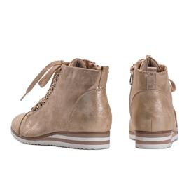 Beżowe sneakersy 15A8617 beżowy złoty 3