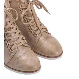 Beżowe sneakersy 15A8617 beżowy złoty 5