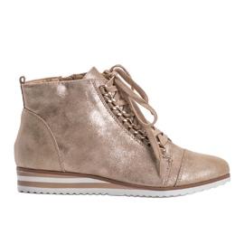 Beżowe sneakersy 15A8617 beżowy złoty 1