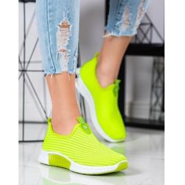 SHELOVET Wygodne Tekstylne Sneakersy zielone 1