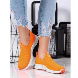 SHELOVET Wygodne Tekstylne Sneakersy pomarańczowe 4