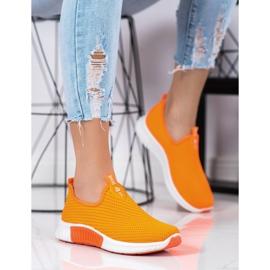 SHELOVET Wygodne Tekstylne Sneakersy pomarańczowe 1