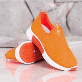 SHELOVET Wygodne Tekstylne Sneakersy pomarańczowe 2
