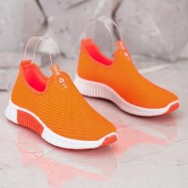 SHELOVET Wygodne Tekstylne Sneakersy pomarańczowe 3