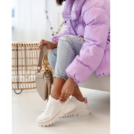 PS1 Damskie Sneakersy Na Platformie Biało Różowe Riri białe 8