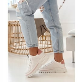 PS1 Damskie Sneakersy Na Platformie Biało Różowe Riri białe 1
