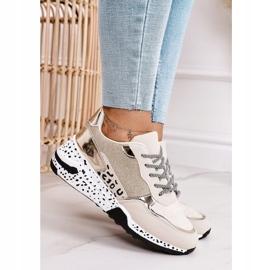PS1 Damskie Sneakersy Na Koturnie Złote Avery beżowy 2