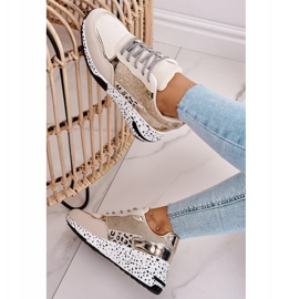 PS1 Damskie Sneakersy Na Koturnie Złote Avery beżowy 4