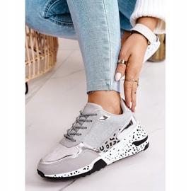 PS1 Damskie Sneakersy Na Koturnie Srebrne Avery szare wielokolorowe 2