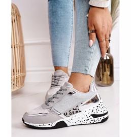 PS1 Damskie Sneakersy Na Koturnie Srebrne Avery szare wielokolorowe 3