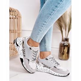 PS1 Damskie Sneakersy Na Koturnie Srebrne Avery szare wielokolorowe 4