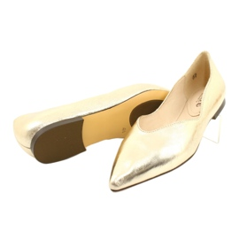Lordsy baleriny damskie skóra Caprice 24200 Gold złoty 3