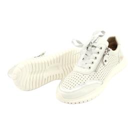 Caprice buty sportowe wiązane tęg.H 23750 white comb białe srebrny 3
