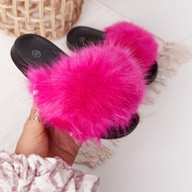 PS1 Dziecięce Klapki Z Futerkiem Fuksja Fashionista różowe 2