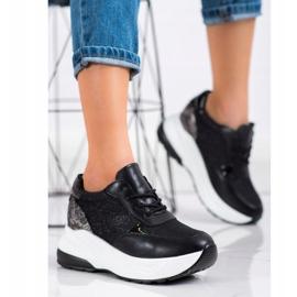 Bestelle Czarne Sneakersy Z Brokatem srebrny 3