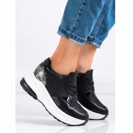 Bestelle Czarne Sneakersy Z Brokatem srebrny 2