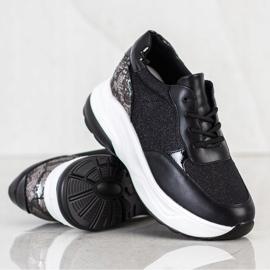 Bestelle Czarne Sneakersy Z Brokatem srebrny 1