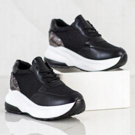 Bestelle Czarne Sneakersy Z Brokatem srebrny 4