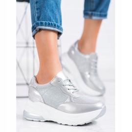 Bestelle Srebrne Sneakersy Z Brokatem srebrny szare 3