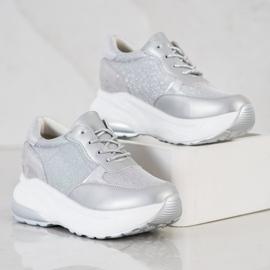 Bestelle Srebrne Sneakersy Z Brokatem srebrny szare 1