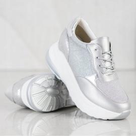 Bestelle Srebrne Sneakersy Z Brokatem srebrny szare 4
