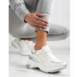 SHELOVET Stylowe BIAŁO-SREBRNE Sneakersy białe srebrny 3