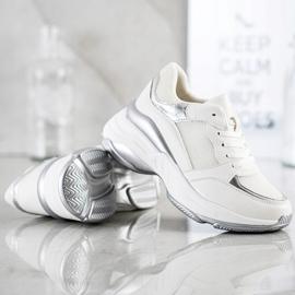 SHELOVET Stylowe BIAŁO-SREBRNE Sneakersy białe srebrny 1