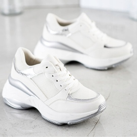 SHELOVET Stylowe BIAŁO-SREBRNE Sneakersy białe srebrny 2