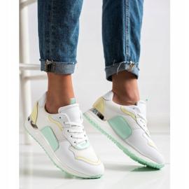 SHELOVET Lekkie Stylowe Sneakersy białe zielone żółte 3