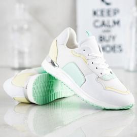 SHELOVET Lekkie Stylowe Sneakersy białe zielone żółte 1