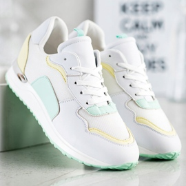 SHELOVET Lekkie Stylowe Sneakersy białe zielone żółte 2