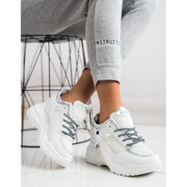 Marquiz Sneakersy Na Koturnie białe srebrny 1