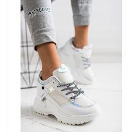 Marquiz Sneakersy Na Koturnie białe srebrny 4