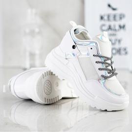 Marquiz Sneakersy Na Koturnie białe srebrny 2