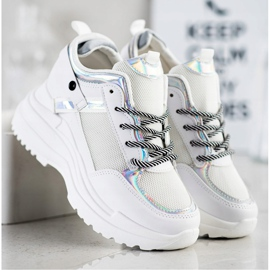 Marquiz Sneakersy Na Koturnie białe srebrny 3