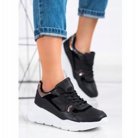 SHELOVET Czarne Sneakersy wielokolorowe 4