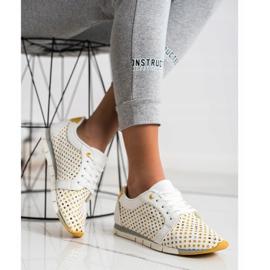 Kylie Biało-żółte Ażurowe Sneakersy białe 3