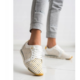 Kylie Biało-żółte Ażurowe Sneakersy białe 4