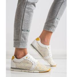 Kylie Biało-żółte Ażurowe Sneakersy białe 5