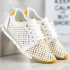 Kylie Biało-żółte Ażurowe Sneakersy białe 1