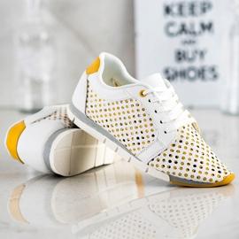 Kylie Biało-żółte Ażurowe Sneakersy białe 2