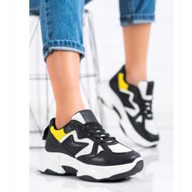 Fashion Wygodne Sneakersy białe czarne żółte 2