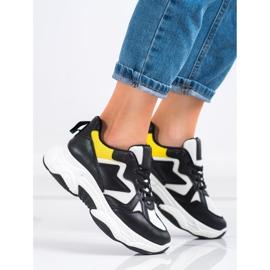 Fashion Wygodne Sneakersy białe czarne żółte 3