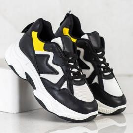 Fashion Wygodne Sneakersy białe czarne żółte 4